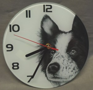 00402 Glass Border Collie Clock 300 x 292