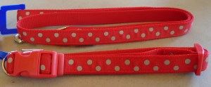 43689 43690 Red Polka Dot colar and lead 300 x 124