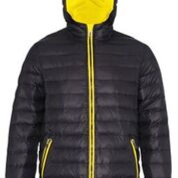 Hooded Padded Coat Black Yellow