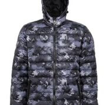 Hooded Padded Coat Grey Camoulflage