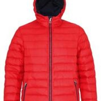 Hooded Padded Coat Red Navy